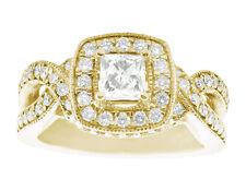 Genuine 1.60Ct Princess Diamond Halo Engagement Ring 10K Gold
