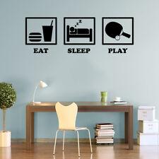 Eat sleep play tennis de table decals Wall Art Stickers Vinyle Autocollant Home DECOS P7