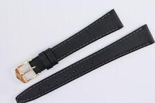 FORTIS Uhrenarmband 14mm Schwarz Kalbsleder