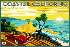 Coastal California Travel Poster Pacific Coast Highway 101 Repro Art Print 305