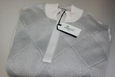 Ashworth Cotton Golf Concealed Zip Neck Jumper Grey Diamond Patterned Front Med