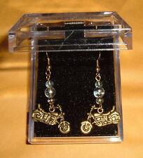 Gold Ptd MOTORCYCLE EARRINGS w/ 3 Lampwork Swirl Glass Bead NIB