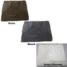 Luxury FLEECE Warm Faux Fur Throw Rug Blanket 130cmx150cm - Black or Cream