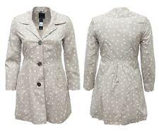 Ladies 14 16 18 Taupe Mushroom Polka Mac Coat Button Up Collar BNWT Womens