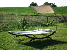 Holz Doppelliege Luxus Sonnenliege Länge 215 x Breite 140cm Brauntöne Hängematte