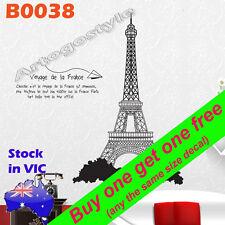B0038 Reusable Eiffel Tower Wall Decal Sticker Poster office School hotel decor