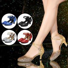 Women Latin Dance Shoes Mid-Heel Glitter Salsa Cha Cha Dancing Shoes Outdoor