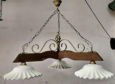Lampadario in ferro battuto e legno mod. Bilanciere 3 luci E27 col.Noce scuro e