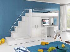 TOMI Hochbett mit Schrank, Schreibtisch, Treppe und Gästebett mit Hochglanzfront
