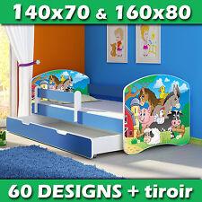 Lit enfant Bébé 140x70 160x80 TIROIR MATELAS + LIVRAISON GRATUITE BLEU