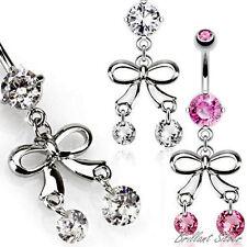 Bauchnabelpiercing Silber Nabel Piercing Anhänger Schleife Kristalle Weiß, Pink