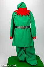 Elf Costume Adult Unisex 5 Piece Gr. & Red Velour Pants Shirt Hat Collar & Belt