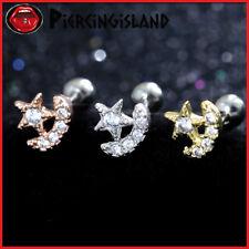 Star Moon Mini Diamond Ear Cartilage Helix Tragus Ring Bar Stud Piercing Earring