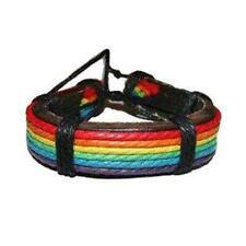 Gay Pride Leather Bracelet Wristlet Cuff Bracelet