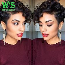 100% Brazilian Virgin Human Hair Wig Lace Front Wig Short Bob Curly Full Wig ##t