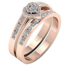 Bridal Anniversary Ring VVS1 E 0.70Ct Round Diamond 14K Yellow Rose Gold 6.50 mm