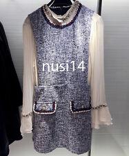 ZARA NEW WOMAN FLECKED DRESS NAVY/WHITE VINTAGE STYLE  BLOGGER XS-L REF 9320/023