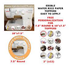 Máquina para coser Personalizado Cumpleaños Pastel/Cupcake Toppers en papel de arroz