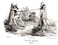 LITHOGRAPHIE DE VILLAIN 1838  CROQUIS JACQUES ARAGO SUPPLICES ILES SANDWICH