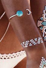 Sun & Moon Faux Turquoise Metal Bangle Bracelet Cuff - Bohemian Hippie Style