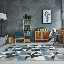 Modern Grey Duck Egg Blue Puzzle Living Room Rug Kaleidoscope Geometric Area Mat