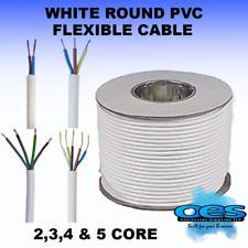 WHITE ROUND FLEXIBLE CABLE 2 3 4 5 CORE 0.75MM 1.0MM 1.5MM 2.5MM FLEX