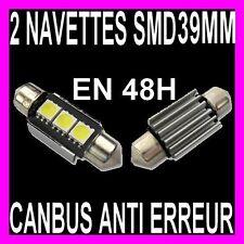 2 AMPOULE NAVETTE A 3 LED SMD C5W 39MM RESISTANCE ANTI ERREUR AUTO MOTO BATEAU