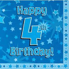 Joyeux 4th Fête d'anniversaire SERVIETTE ETOILE BLEUE 33cm Papier célébration