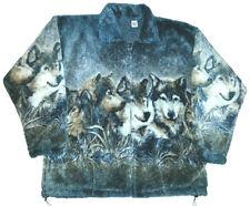 Wolf Faces Plush Fleece Wolves Print Jacket (XS - 4X)