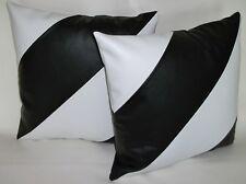 "2 White & Black Dual Stripe Faux Leather Cushion Covers 16"" 18"" 20"" Pillows"