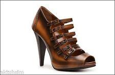 BALLY Brown Leather Ankle Strap Platform Pump S 8 EU38.5 NIB