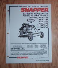SNAPPER REAR ENGINE RIDER  SERIES 15 OPERATOR  MANUAL
