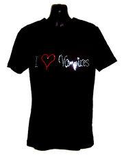 I LOVE VAMPIRES RHINESTUD DESIGN CHILDRENS T SHIRT (ANY SIZE) GOTHIC HORROR