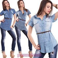 Camicia donna lunga pois blu cotone maniche corte maglia avvitata nuova 322