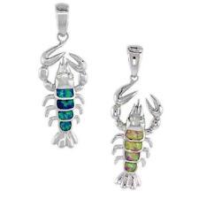 Opal & Cz Stones Sterling Silver Lobster Pendant w/