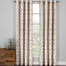 Catalina Pair Jacquard Textured Garden Theme Fabric Grommet Top Curtain Panels