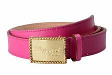 Dsquared2 Women's Fuchsia Genuine Leather Metal Buckle Decorated Belt Sz S M L