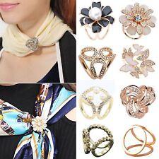 Elegant Scarf Buckle Ring Clip Flower Holder Women Ladies Jewelry Gift UK
