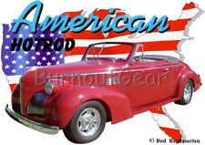 1939 Red Pontiac Convertible Custom Hot Rod USA T-Shirt 39 Muscle Car Tees