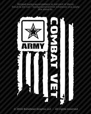 Distressed Army Combat Veteran Flag Vinyl Decal Military Window Sticker