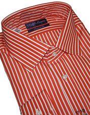 Ralph Lauren Púrpura Etiqueta Derek Tiras Naranja Tailored Camisa Kw.43 & 44