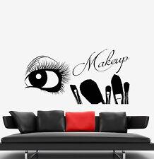Vinyl Wall Decal Eyelash Eye Makeup Artist Brushes Beauty Salon Stickers 1446ig