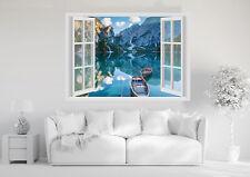 Adesivi Murali Finestra - BARCHE LAGO  MONTAGNA  - Wall Stickers 3D - VINILE