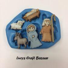 3D azúcar Natividad Set-Comestibles Azúcar Toppers//para decoración de pasteles de Navidad