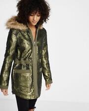 New Sequin Parka Coat Jacket Fur Express xxs Xsmall small green Leopard Anorak