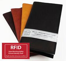 RFID Blocking Men Women Leather Checkbook Cover Organizer Secretary Plain Wallet