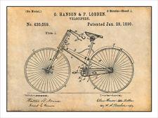 1890 Hanson & Lobben Velocipede Patent Print Art Drawing Poster 18X24