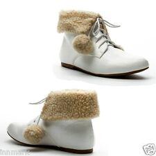 911 Seasonal Ladies Shoes Fleece Collared Elf White Boots UK 3 - 8 EU 36 - 41
