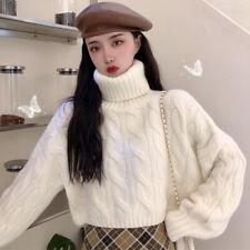Winter Women Twist Knitted Cropped Sweater Turtleneck Long Sleeve Pullover Korea