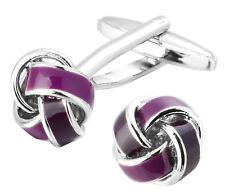 Purple Enamel Mens Love Knot Wedding Gift Cuff links by CUFFLINKS DIRECT